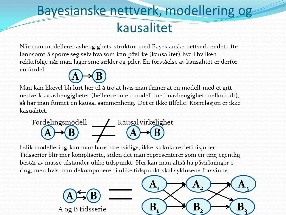 Skjulte Markov-kjeder Hydrologiske og meteorologiske tilstander ute i naturen, slik som vannføring, har et anstrøk av stokastisitet (ikke-predikerbarhet) og kan forhåpentligvis modelleres med tidsserier-modeller av typen Markov-kjeder (hvis man inkluderer nok relevante variable).