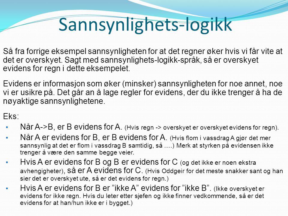 Sannsynlighets-logikk Så fra forrige eksempel sannsynligheten for at det regner øker hvis vi får vite at det er overskyet. Sagt med sannsynlighets-log