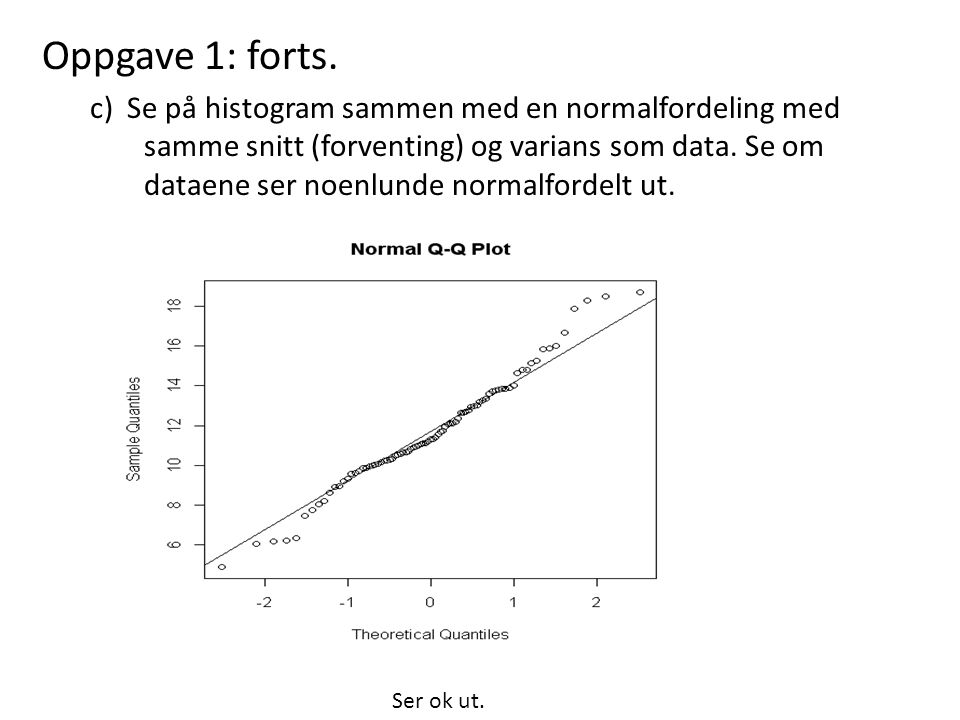 Oppgave 1: forts. c) Se på histogram sammen med en normalfordeling med samme snitt (forventing) og varians som data. Se om dataene ser noenlunde norma