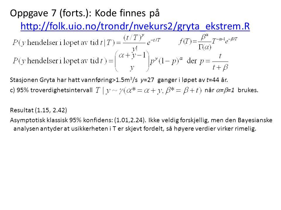 Oppgave 7 (forts.): Kode finnes på http://folk.uio.no/trondr/nvekurs2/gryta_ekstrem.R http://folk.uio.no/trondr/nvekurs2/gryta_ekstrem.R Stasjonen Gry