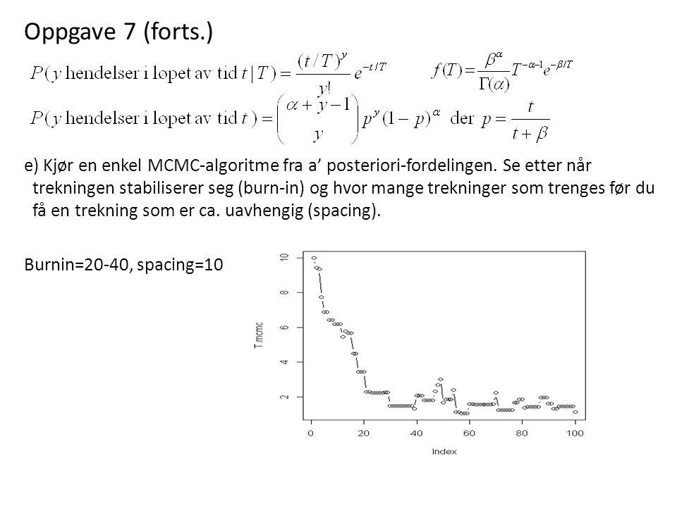 Oppgave 7 (forts.) e) Kjør en enkel MCMC-algoritme fra a' posteriori-fordelingen. Se etter når trekningen stabiliserer seg (burn-in) og hvor mange tre