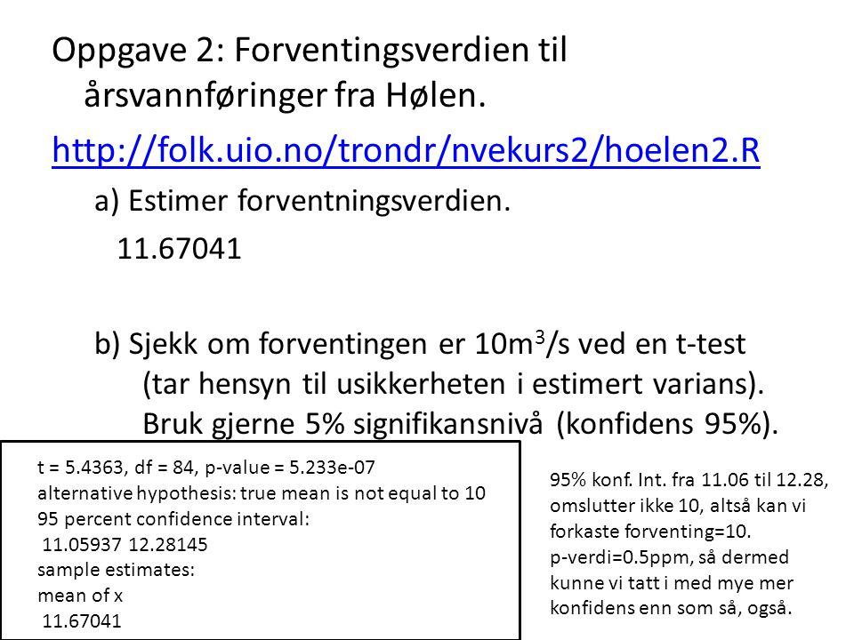Oppgave 2: Forventingsverdien til årsvannføringer fra Hølen. http://folk.uio.no/trondr/nvekurs2/hoelen2.R a) Estimer forventningsverdien. 11.67041 b)