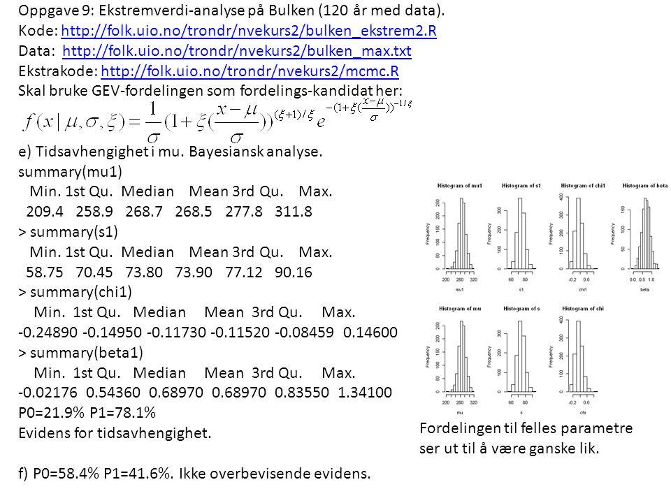 Oppgave 9: Ekstremverdi-analyse på Bulken (120 år med data). Kode: http://folk.uio.no/trondr/nvekurs2/bulken_ekstrem2.Rhttp://folk.uio.no/trondr/nveku