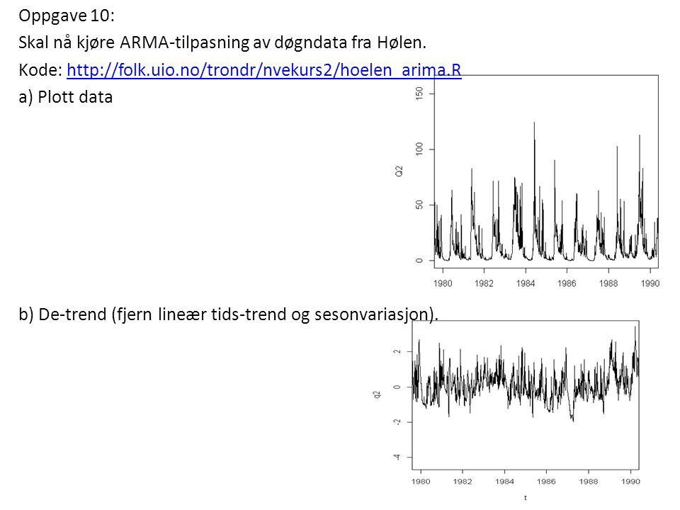Oppgave 10: Skal nå kjøre ARMA-tilpasning av døgndata fra Hølen. Kode: http://folk.uio.no/trondr/nvekurs2/hoelen_arima.Rhttp://folk.uio.no/trondr/nvek