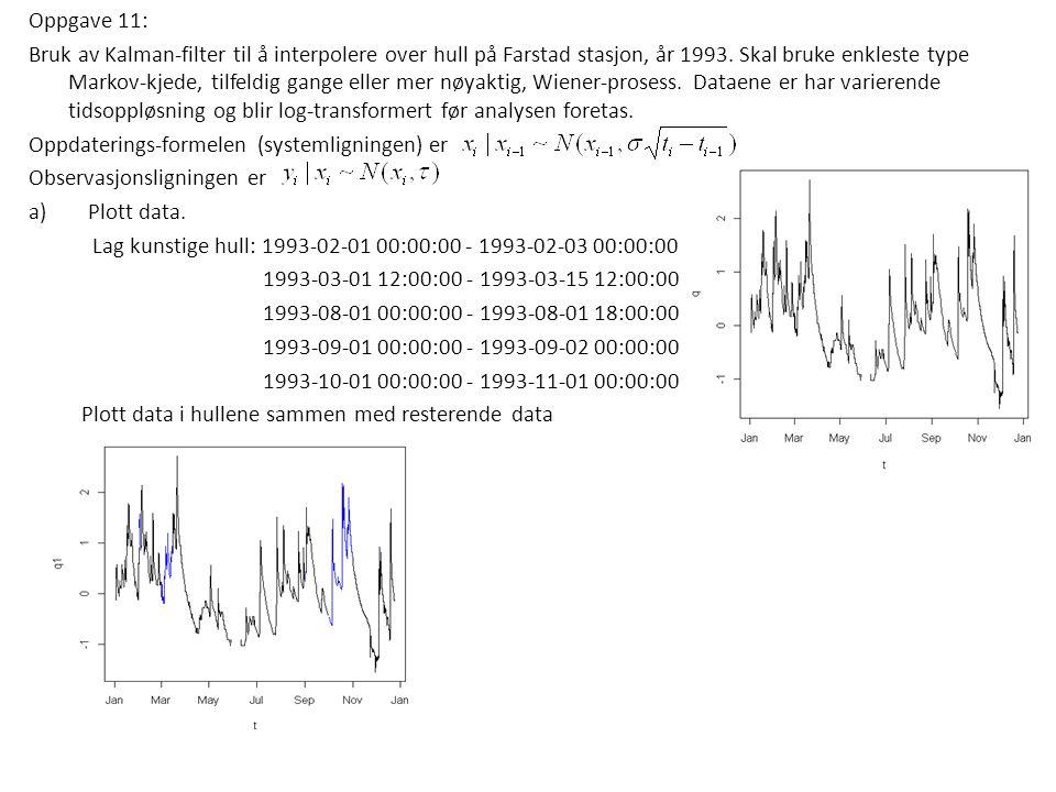 Oppgave 11: Bruk av Kalman-filter til å interpolere over hull på Farstad stasjon, år 1993. Skal bruke enkleste type Markov-kjede, tilfeldig gange elle