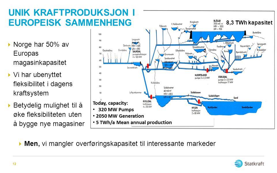 12  Norge har 50% av Europas magasinkapasitet  Vi har ubenyttet fleksibilitet i dagens kraftsystem  Betydelig mulighet til å øke fleksibiliteten ut