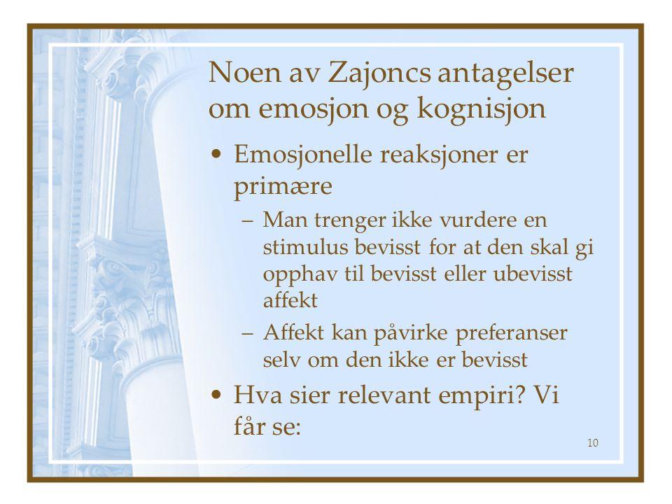Noen av Zajoncs antagelser om emosjon og kognisjon Emosjonelle reaksjoner er primære –Man trenger ikke vurdere en stimulus bevisst for at den skal gi opphav til bevisst eller ubevisst affekt –Affekt kan påvirke preferanser selv om den ikke er bevisst Hva sier relevant empiri.