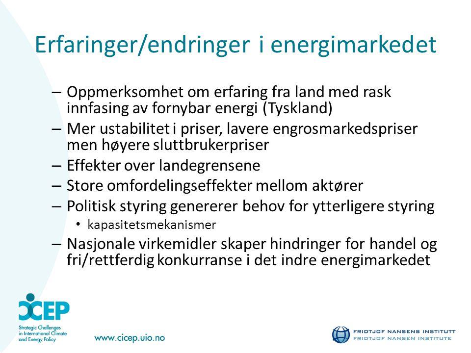 Erfaringer/endringer i energimarkedet – Oppmerksomhet om erfaring fra land med rask innfasing av fornybar energi (Tyskland) – Mer ustabilitet i priser