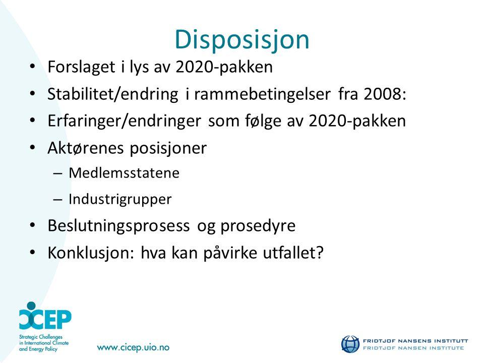 Disposisjon Forslaget i lys av 2020-pakken Stabilitet/endring i rammebetingelser fra 2008: Erfaringer/endringer som følge av 2020-pakken Aktørenes posisjoner – Medlemsstatene – Industrigrupper Beslutningsprosess og prosedyre Konklusjon: hva kan påvirke utfallet