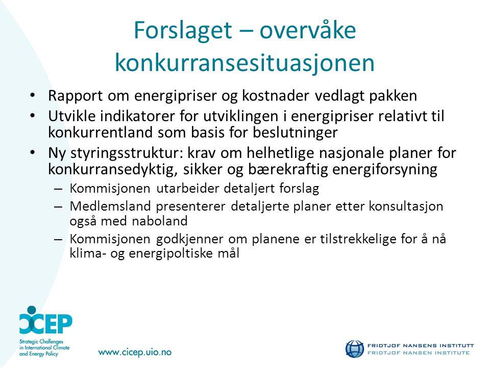 Forslaget – overvåke konkurransesituasjonen Rapport om energipriser og kostnader vedlagt pakken Utvikle indikatorer for utviklingen i energipriser rel