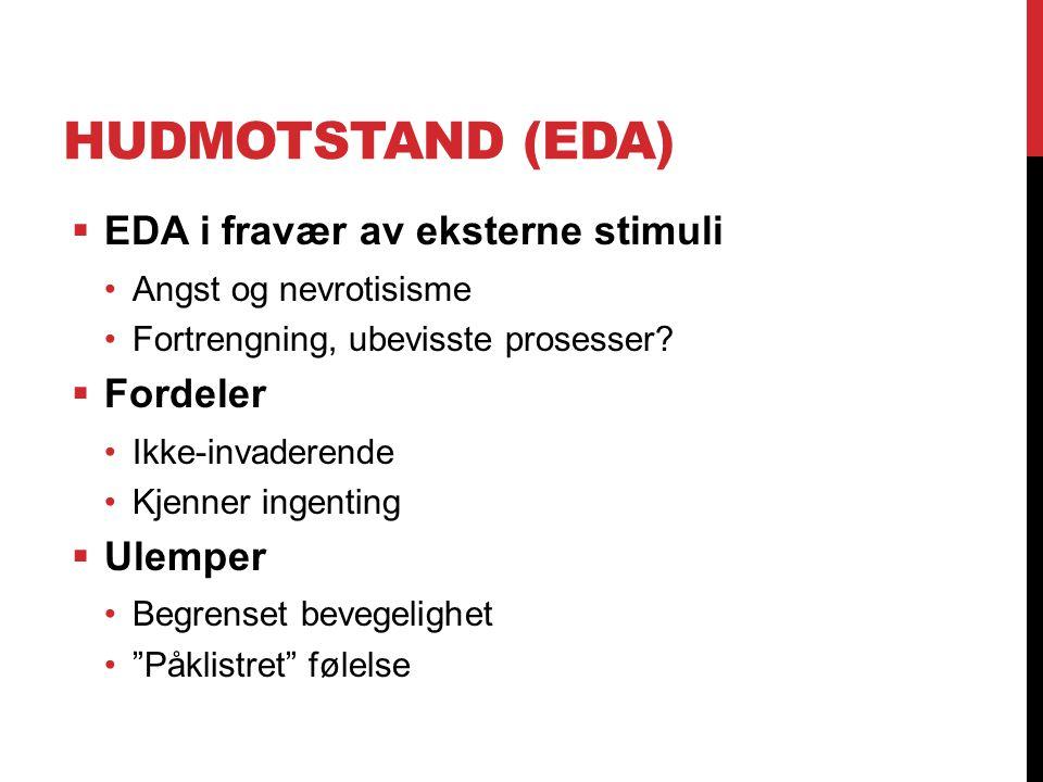 HUDMOTSTAND (EDA)  EDA i fravær av eksterne stimuli Angst og nevrotisisme Fortrengning, ubevisste prosesser?  Fordeler Ikke-invaderende Kjenner inge