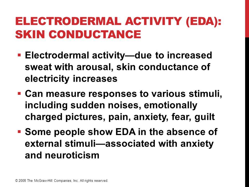 HUDMOTSTAND (EDA)  Aktivering av autonomt nervesystem -> økt aktivitet i svettekjertlene -> økt mengde saltvann -> økt ledbarhet for strøm  Responser til forskjellige stimuli Fight or flight-respons Plutselige lyder, emosjonelt ladede bilder, smerte, angst, frykt, skyldfølelse