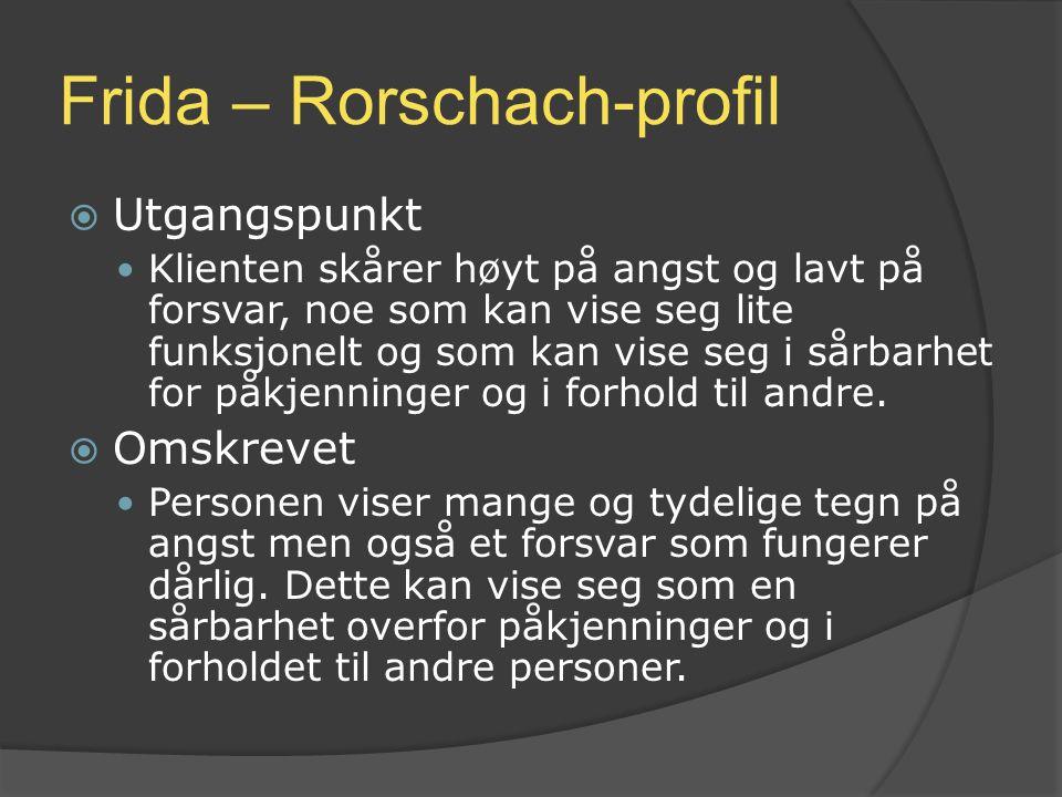 Frida – Rorschach-profil  Utgangspunkt Klienten skårer høyt på angst og lavt på forsvar, noe som kan vise seg lite funksjonelt og som kan vise seg i