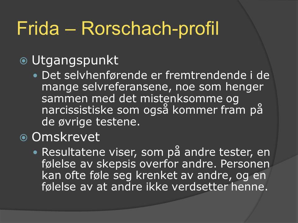Frida – Rorschach-profil  Utgangspunkt Det selvhenførende er fremtrendende i de mange selvreferansene, noe som henger sammen med det mistenksomme og