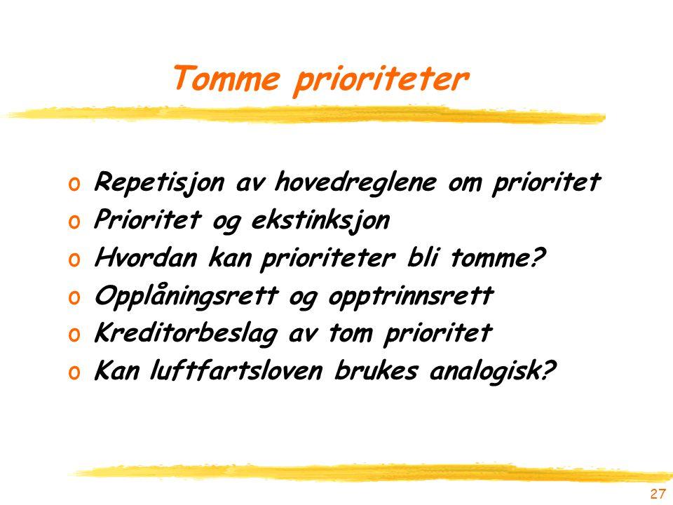 27 Tomme prioriteter oRepetisjon av hovedreglene om prioritet oPrioritet og ekstinksjon oHvordan kan prioriteter bli tomme? oOpplåningsrett og opptrin