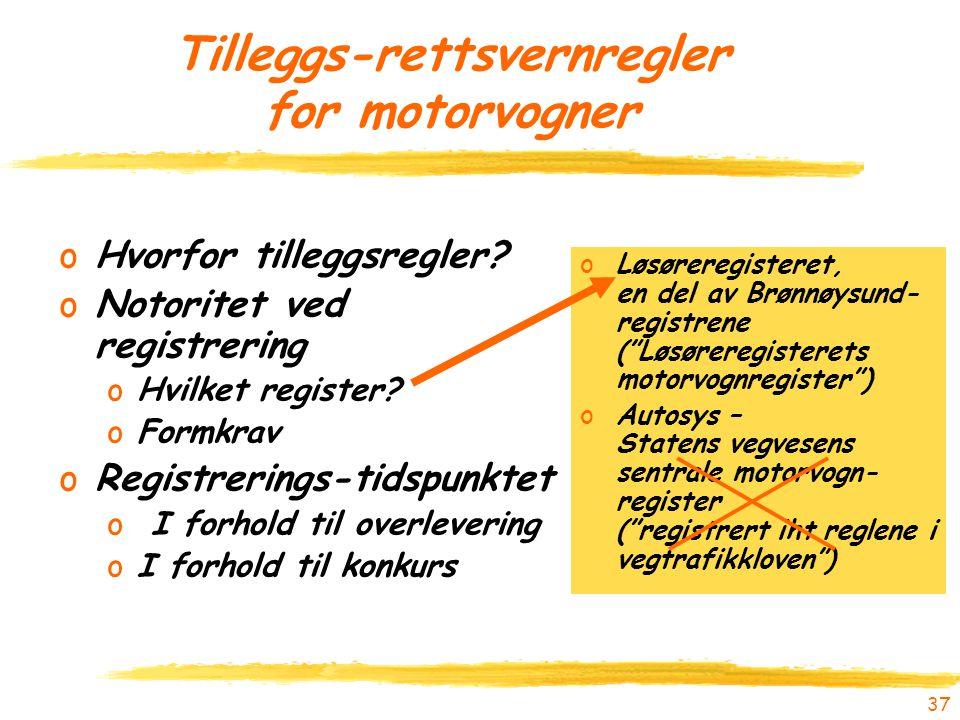 37 Tilleggs-rettsvernregler for motorvogner oHvorfor tilleggsregler? oNotoritet ved registrering oHvilket register? oFormkrav oRegistrerings-tidspunkt