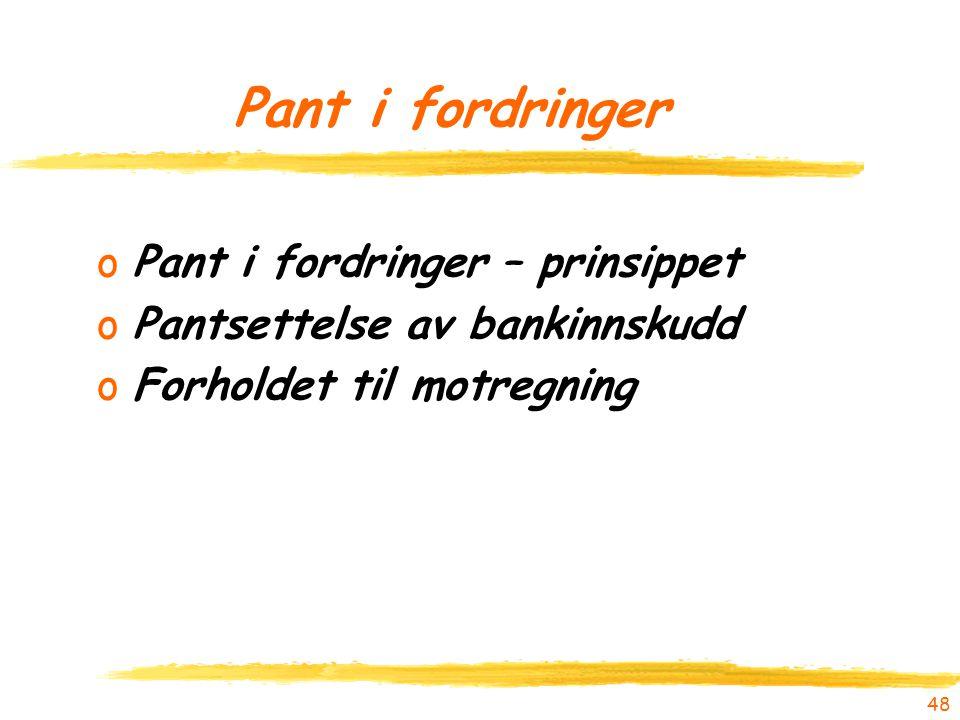 oPant i fordringer – prinsippet oPantsettelse av bankinnskudd oForholdet til motregning 48