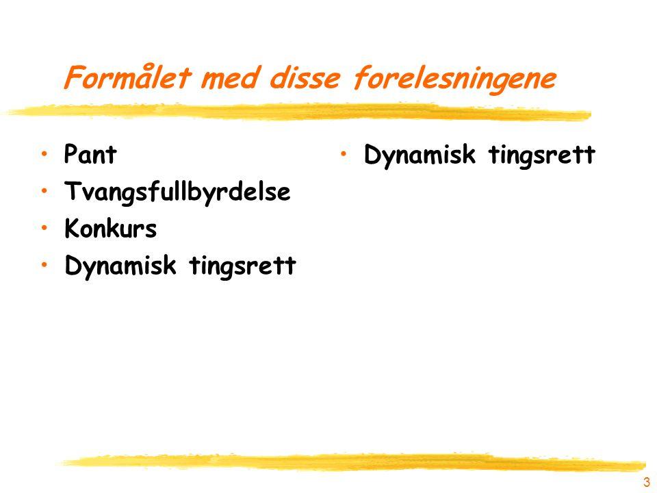 Formålet med disse forelesningene Pant Tvangsfullbyrdelse Konkurs Dynamisk tingsrett 3
