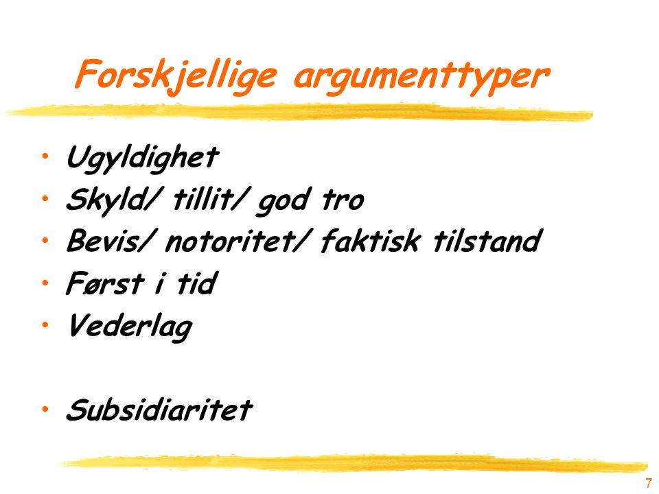 Forskjellige argumenttyper Ugyldighet Skyld/ tillit/ god tro Bevis/ notoritet/ faktisk tilstand Først i tid Vederlag Subsidiaritet 7