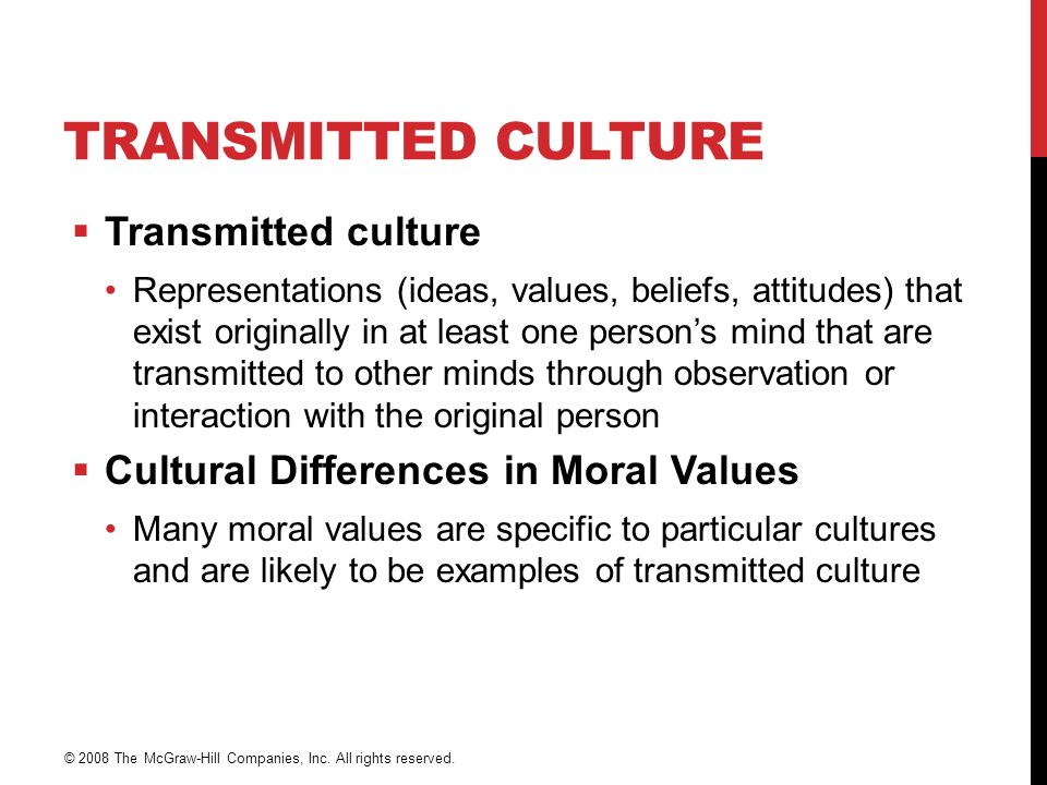 TRANSMITTED CULTURE  Transmitted culture Representations (ideas, values, beliefs, attitudes) that exist originally in at least one person's mind that