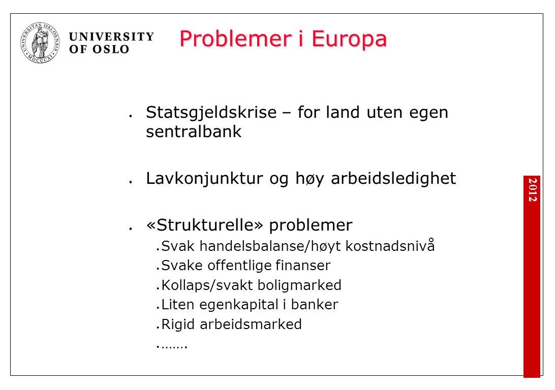 2012 Problemer i Europa Statsgjeldskrise – for land uten egen sentralbank Lavkonjunktur og høy arbeidsledighet «Strukturelle» problemer Svak handelsba