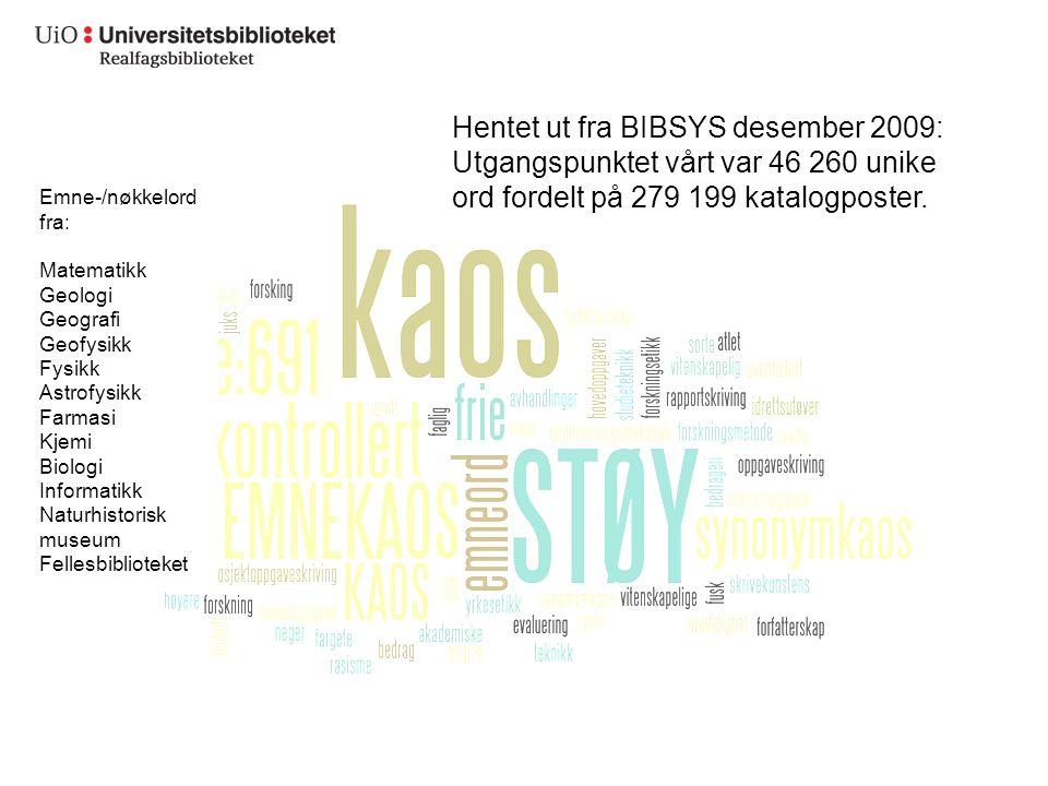 Hentet ut fra BIBSYS desember 2009: Utgangspunktet vårt var 46 260 unike ord fordelt på 279 199 katalogposter.