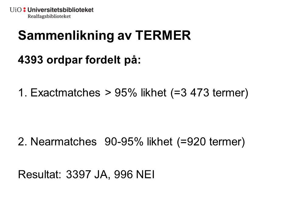 Sammenlikning av TERMER 4393 ordpar fordelt på: 1.