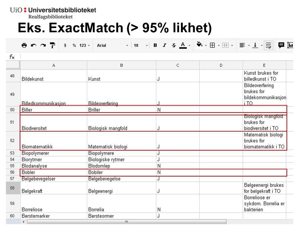 Eks. ExactMatch (> 95% likhet)