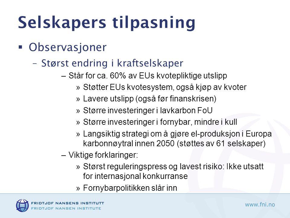 Selskapers tilpasning  Observasjoner –Størst endring i kraftselskaper –Står for ca. 60% av EUs kvotepliktige utslipp »Støtter EUs kvotesystem, også k