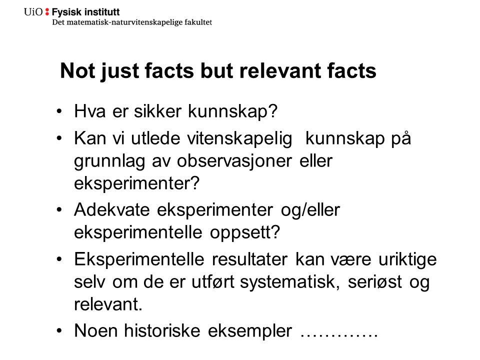 Not just facts but relevant facts Hva er sikker kunnskap.