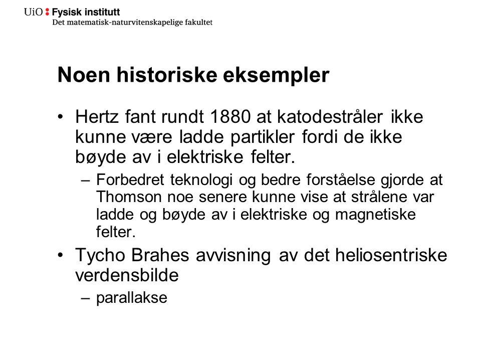 Noen historiske eksempler Hertz fant rundt 1880 at katodestråler ikke kunne være ladde partikler fordi de ikke bøyde av i elektriske felter.