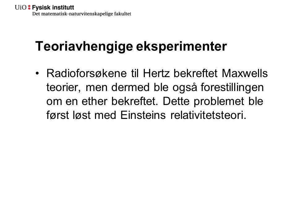 Teoriavhengige eksperimenter Radioforsøkene til Hertz bekreftet Maxwells teorier, men dermed ble også forestillingen om en ether bekreftet.