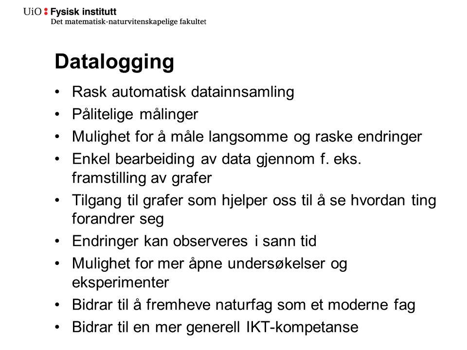 Datalogging Rask automatisk datainnsamling Pålitelige målinger Mulighet for å måle langsomme og raske endringer Enkel bearbeiding av data gjennom f.