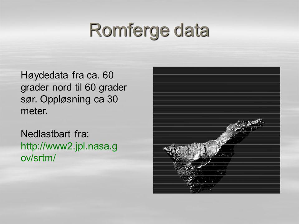 Romferge data Høydedata fra ca.60 grader nord til 60 grader sør.