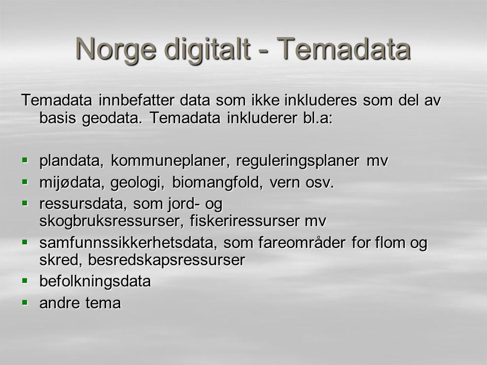 Regionalt tilgjengelige kart i Norge for prediksjonsmodellering  Mer enn 80 (kanskje 100) forskjellige kartlag tilgjengelig for prediksjonsmodellering –Klima (for eksempel månedsmiddel gjennomsnittelig temperatur og nedbør i 1km oppløsning) –Topografi (ulike avledninger og indekser i 25 m oppløsning) –Hydrologi (for eksempel avrenning og evapotranspirasjon i 1 km oppløsning) –Geologi (Jord og berggrunn, 1: 250 000) –Menneskelig påvirkning (Veier, bebygde områder, jordbruk osv.) –Økosystemalder