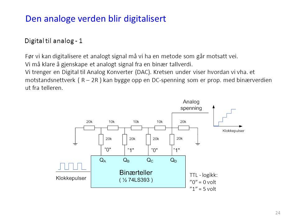 24 Den analoge verden blir digitalisert Digital til analog - 1 Før vi kan digitalisere et analogt signal må vi ha en metode som går motsatt vei. Vi må