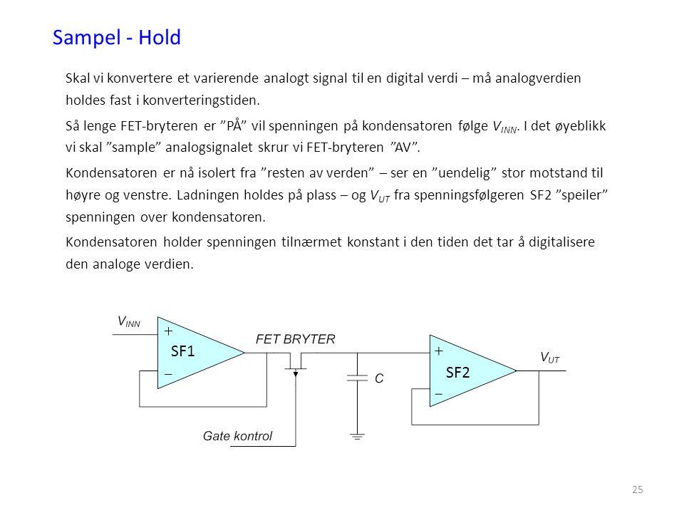 25 Sampel - Hold Skal vi konvertere et varierende analogt signal til en digital verdi – må analogverdien holdes fast i konverteringstiden. Så lenge FE