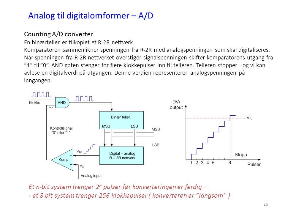 26 Counting A/D converter En binærteller er tilkoplet et R-2R nettverk. Komparatoren sammenlikner spenningen fra R-2R med analogspenningen som skal di