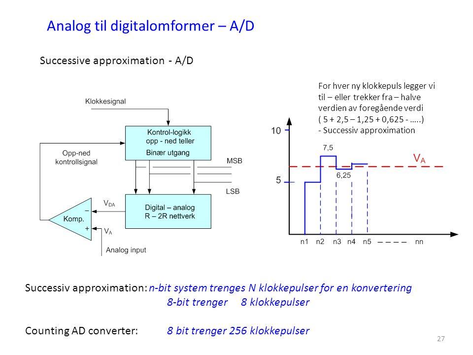 27 Analog til digitalomformer – A/D Successive approximation - A/D Successiv approximation: n-bit system trenges N klokkepulser for en konvertering 8-