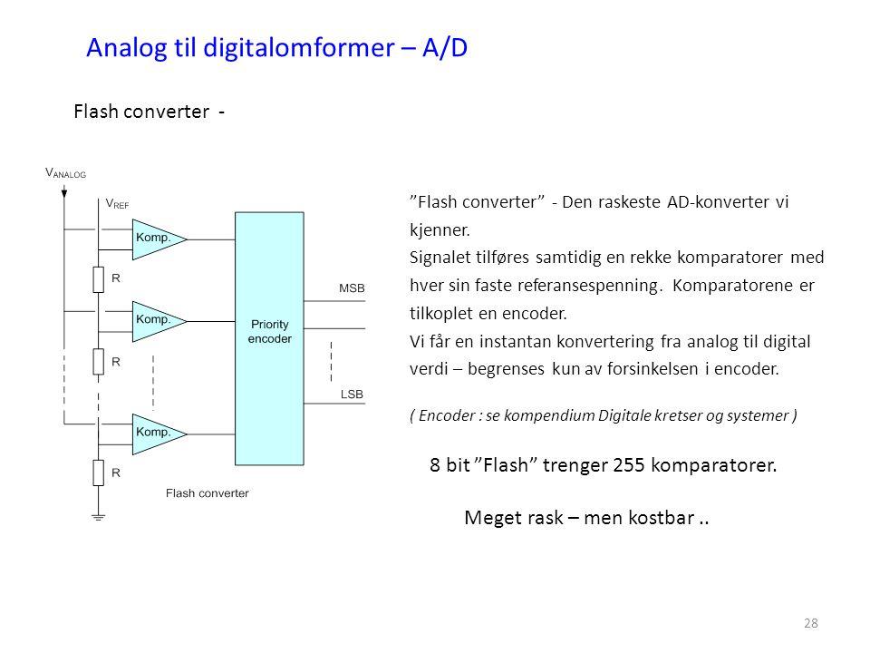 """28 Analog til digitalomformer – A/D Flash converter - """"Flash converter"""" - Den raskeste AD-konverter vi kjenner. Signalet tilføres samtidig en rekke ko"""