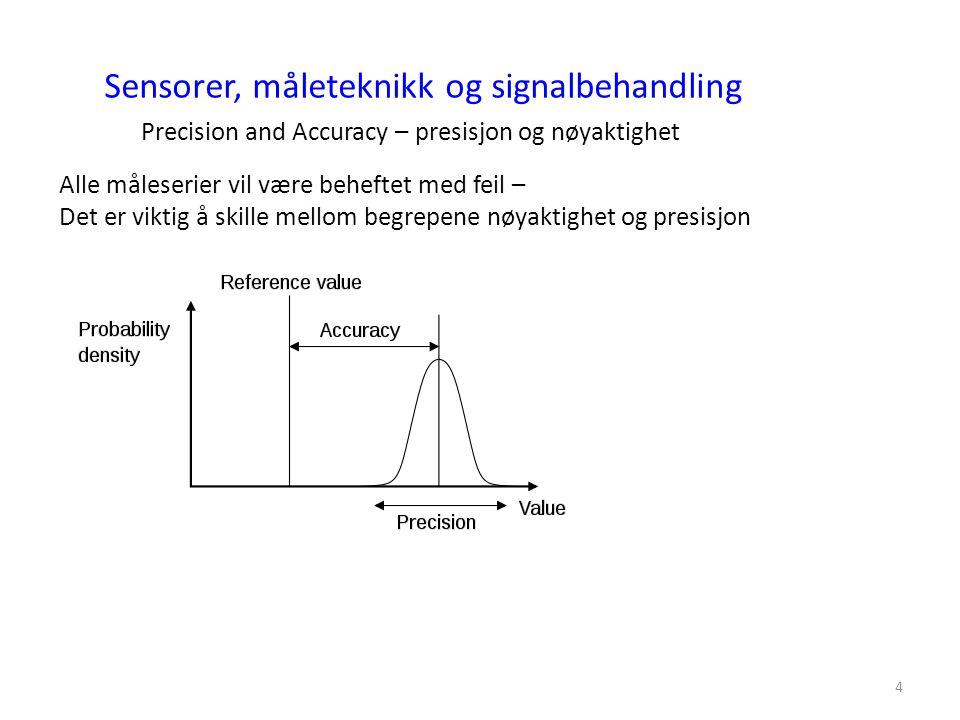 4 Sensorer, måleteknikk og signalbehandling Precision and Accuracy – presisjon og nøyaktighet Alle måleserier vil være beheftet med feil – Det er vikt