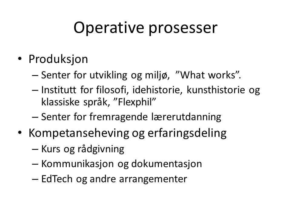 """Operative prosesser Produksjon – Senter for utvikling og miljø, """"What works"""". – Institutt for filosofi, idehistorie, kunsthistorie og klassiske språk,"""