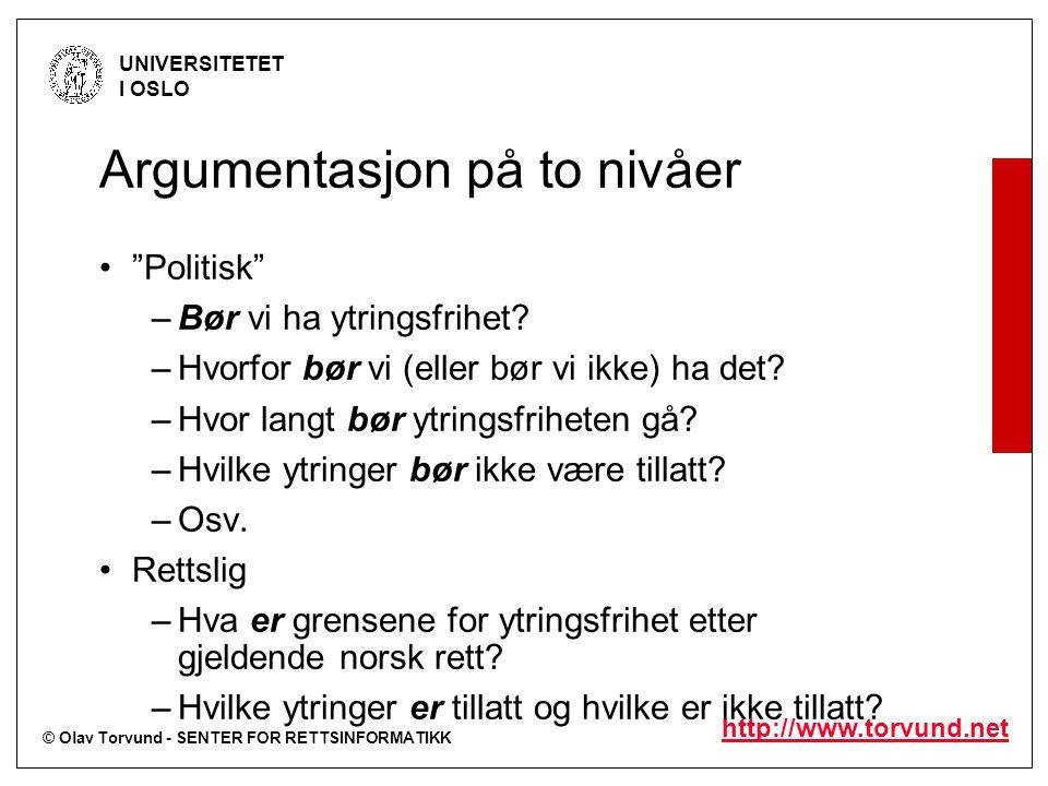 © Olav Torvund - SENTER FOR RETTSINFORMATIKK UNIVERSITETET I OSLO http://www.torvund.net Argumentasjon på to nivåer Politisk –Bør vi ha ytringsfrihet.