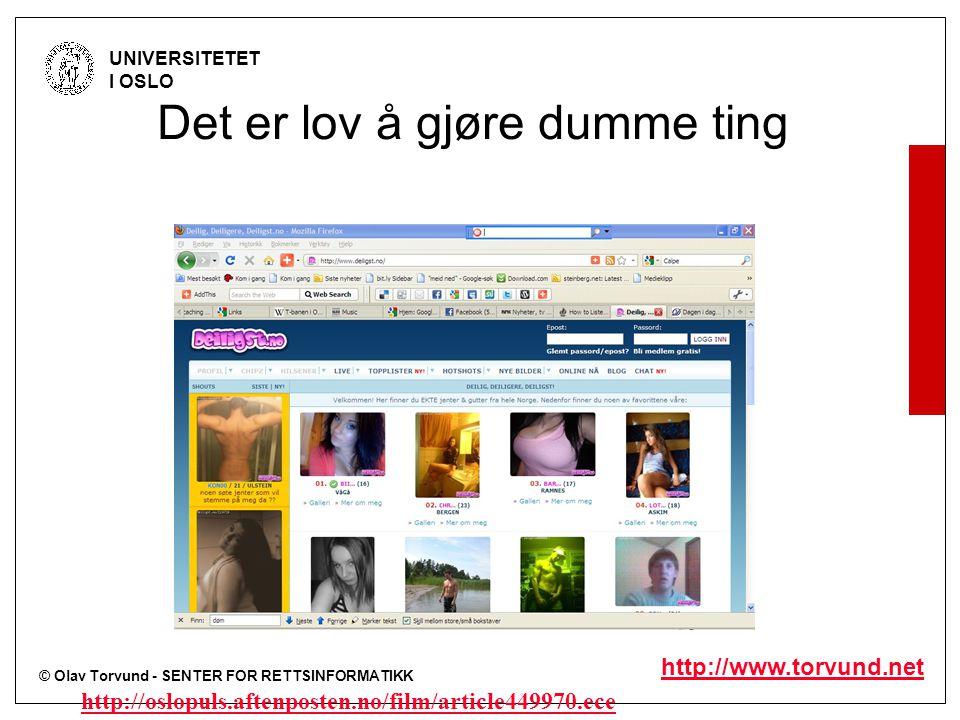 © Olav Torvund - SENTER FOR RETTSINFORMATIKK UNIVERSITETET I OSLO http://www.torvund.net Det er lov å gjøre dumme ting http://oslopuls.aftenposten.no/film/article449970.ece