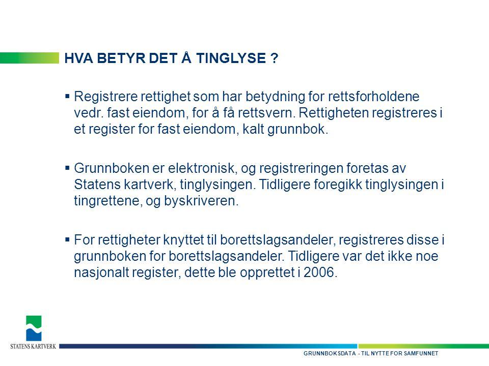 - TIL NYTTE FOR SAMFUNNETGRUNNBOKSDATA HVA BETYR DET Å TINGLYSE .