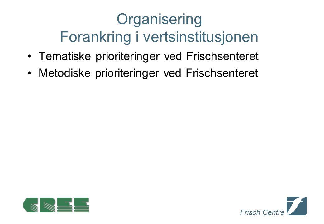 Frisch Centre Organisering Forankring i vertsinstitusjonen Tematiske prioriteringer ved Frischsenteret Metodiske prioriteringer ved Frischsenteret