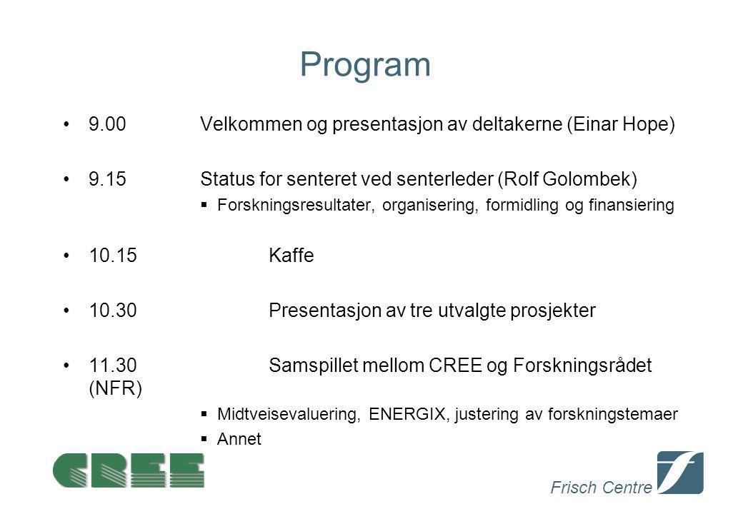 Frisch Centre Program 9.00Velkommen og presentasjon av deltakerne (Einar Hope) 9.15Status for senteret ved senterleder (Rolf Golombek)  Forskningsresultater, organisering, formidling og finansiering 10.15Kaffe 10.30Presentasjon av tre utvalgte prosjekter 11.30Samspillet mellom CREE og Forskningsrådet (NFR)  Midtveisevaluering, ENERGIX, justering av forskningstemaer  Annet ll