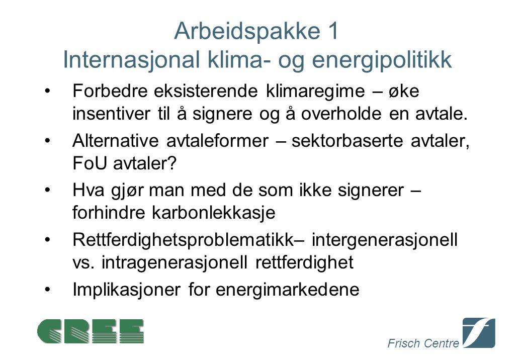 Frisch Centre Arbeidspakke 1 Internasjonal klima- og energipolitikk Forbedre eksisterende klimaregime – øke insentiver til å signere og å overholde en avtale.