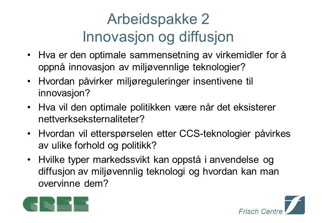 Frisch Centre Arbeidspakke 2 Innovasjon og diffusjon Hva er den optimale sammensetning av virkemidler for å oppnå innovasjon av miljøvennlige teknologier.
