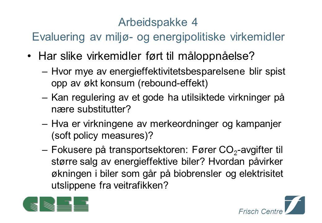 Frisch Centre Arbeidspakke 4 Evaluering av miljø- og energipolitiske virkemidler Har slike virkemidler ført til måloppnåelse.